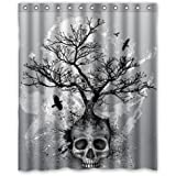 "Creative Skull Tree Black Eagle Shower Curtain 60""x 72"""