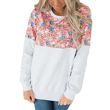 e1cdd87362dde Femmes Sweatshirt Blouse Chemisier à Manches Longues Fleur Impression Mode Pas  Cher Chic, QinMM Sport