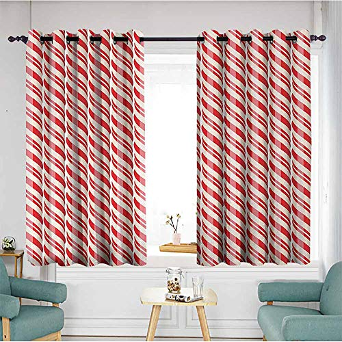 - Beihai1Sun Window Blackout Curtains,Candy Cane,Red Christmas Candies Pattern with Diagonal Stripes Traditional Winter Sweets,Red Cream,Energy Efficient, Room Darkening,W63x63L