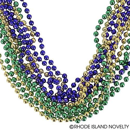 GIFTEXPRESS 1 dozen Mardi Gras Beads (Purple, Green and -