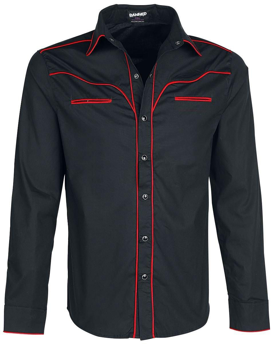 Plain Trim Camisa negro/rojo Banned jmzW53Go