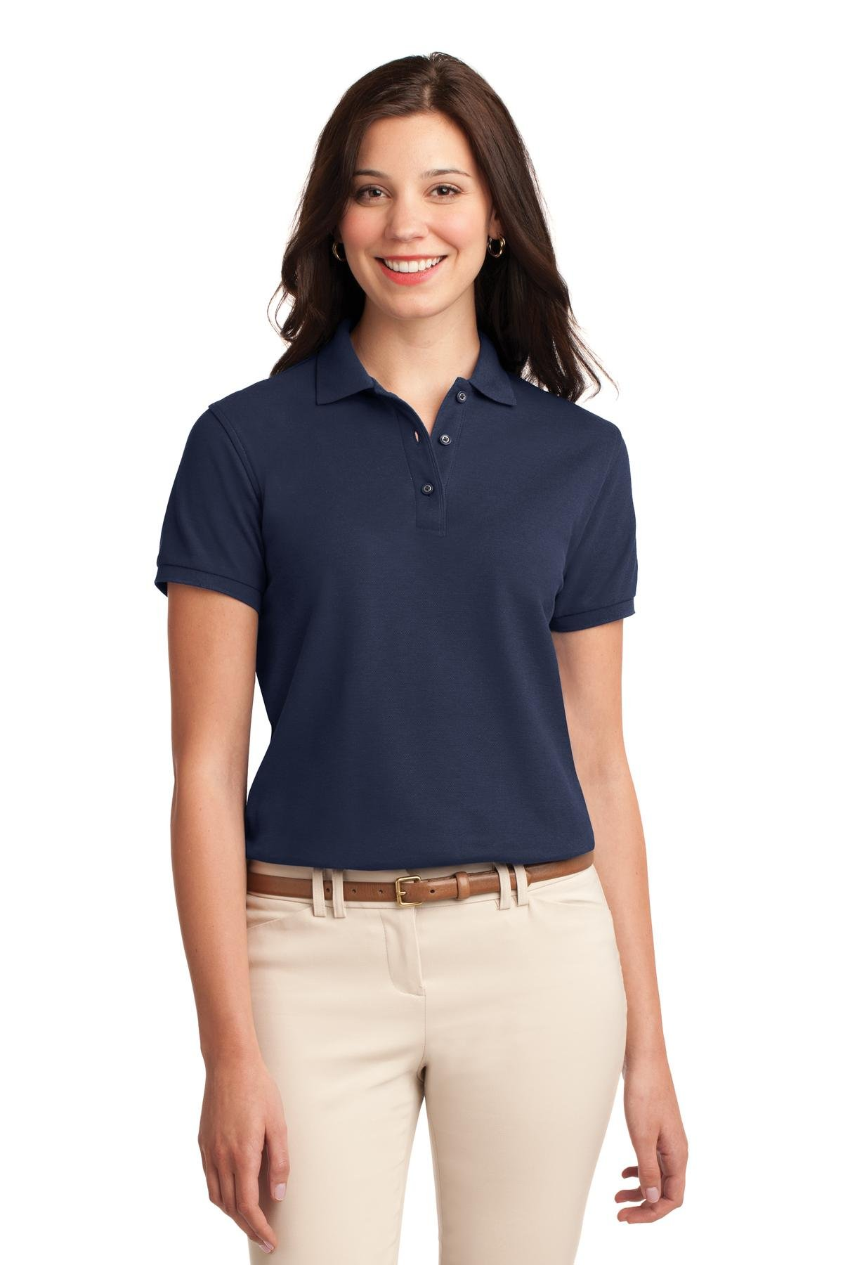 Port Authority Women's Silk Touch Polo M Navy