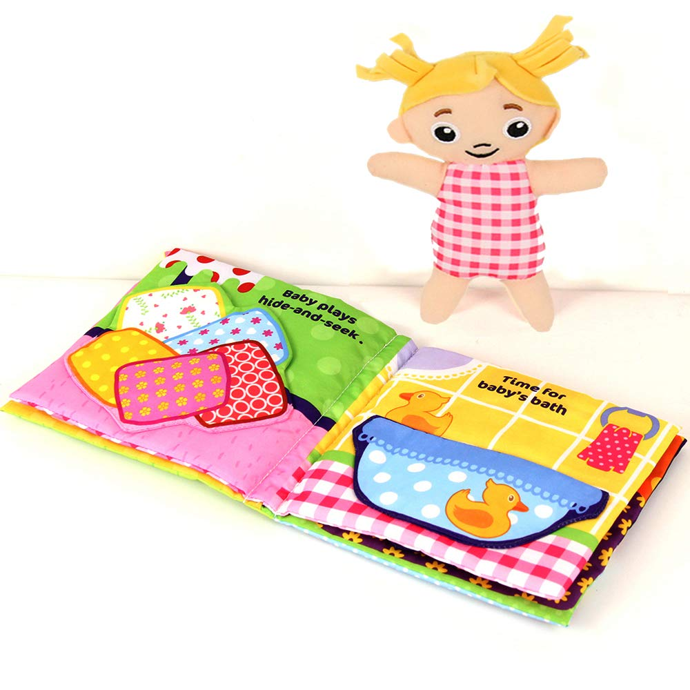 Jollybaby Soft Books for Babies, Cloth Books Touch and Feel for 0-12 Months Toys, Infant Tummy-Time Soft Crinkle Activity Book, Educational Toy with 9 Sensory Items, Toddler Busy Books