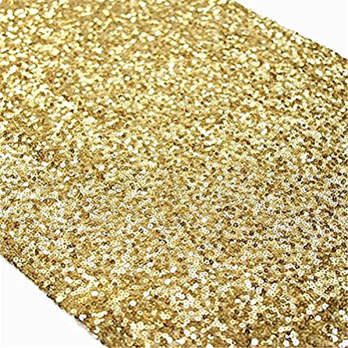 TRLYC 6 Pieces 12 by 108-Inch Wedding Gold Sequin Table Runner, Gold ()