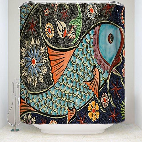 Crystal Emotion Custom Ocean Tropical Fish Coral Undersea World Waterproof Fabric Extra Long Bathroom Decor,Colorful 60x72inch