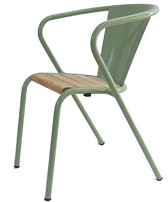 Chaise Chaise de jardin métal vert clair avec lattung | Design ...