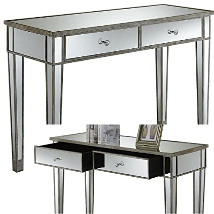 Amazon Com Mirrored Console Table With Drawers White Wood And Glass