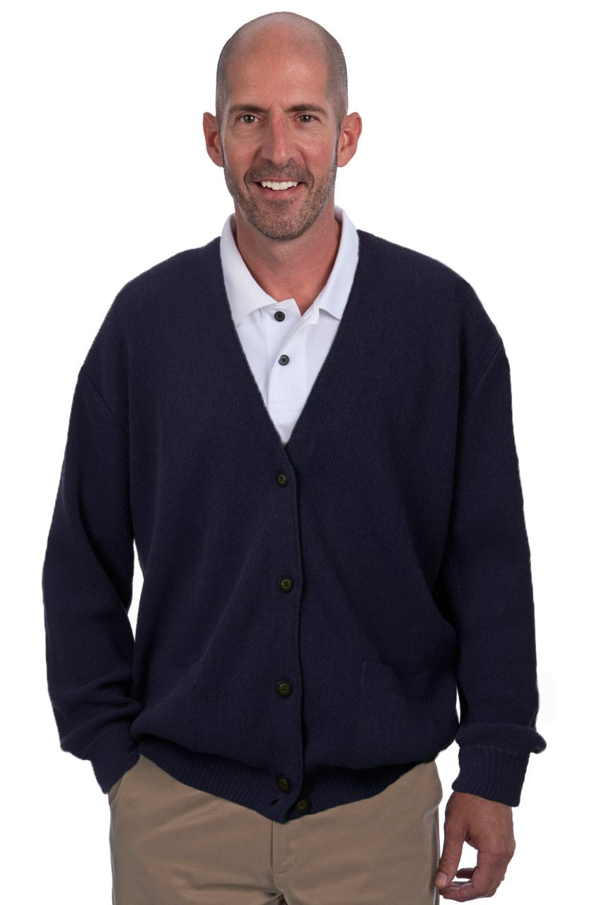 Alpaca Golf Men's Button Down Cardigan with Pockets - 100% Alpaca Superfine (Large, Navy)