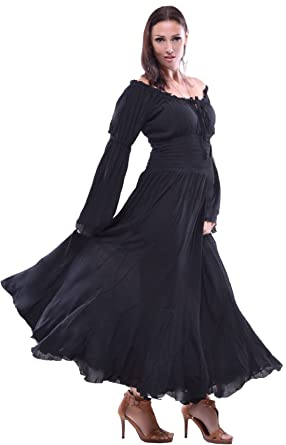 a89f84d9d711 LOTUSTRADERS Off Shoulder Long Sleeve Smocked Waist Peasant Maxi Dress Y502  at Amazon Women s Clothing store