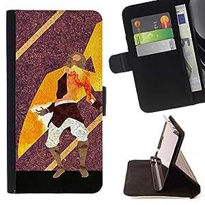Momo Phone Case / Flip Funda de Cuero Case Cover - Resumen Guerrero Arte;;;;;;;; - Samsung Galaxy J3 GSM-J300