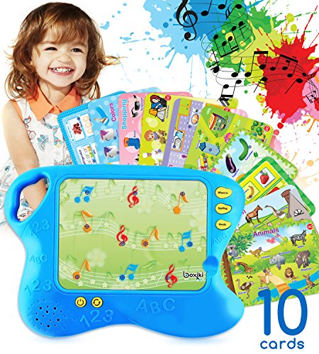 Learning Pad with 10 Educational Cards by Boxiki Kids | Kids Board Game w/ Touch and Learn Functions | Smart Pad for Children's Learning Games | Educational Electronic Learning Set