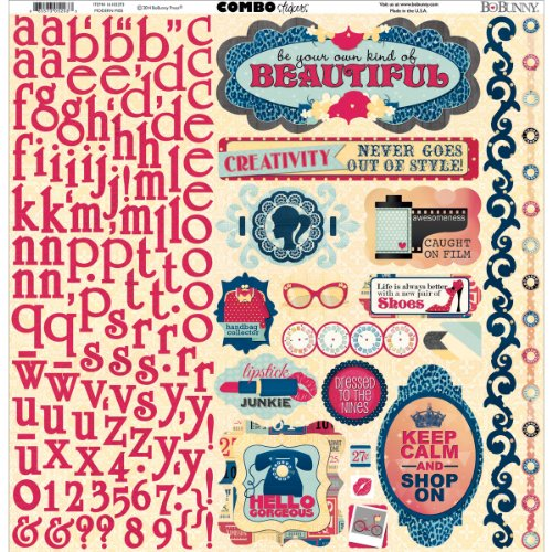 Bo Bunny Modern Miss Combo Stickers, 12 by 12-Inch