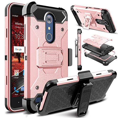 Venoro ZTE Blade Spark Case, Venoro for ZTE Grand X 4 Holster Case, Venoro Heavy Duty Shockproof Protection Case Cover with Belt Swivel Clip and Kickstand Compatible ZTE Grand X 4 (Rose Gold) (Cases Phone Zte Grand Cricket)
