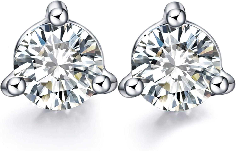 Epinki Oro Blanco 18K Pendientes de Mujer Pendientes Diamante 3 Garras Redondo Forma