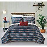 4pc Blue Yellow Gold Red African Themed Quilt Queen Set, Diamond Aztec Artistic, Hippie Pattern Bedding Bohemian Hippy Tribal Native American Southwest Paisley Motif, Microfiber