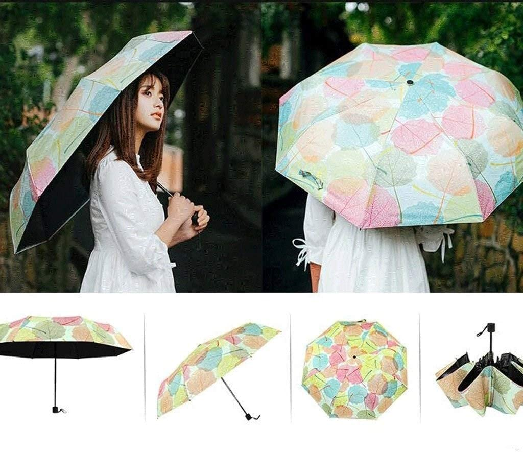 UBDLE Umbrella Leaves Small Fresh Art Sunny Thickened Rubber Three Folding Sun Sunscreen UV