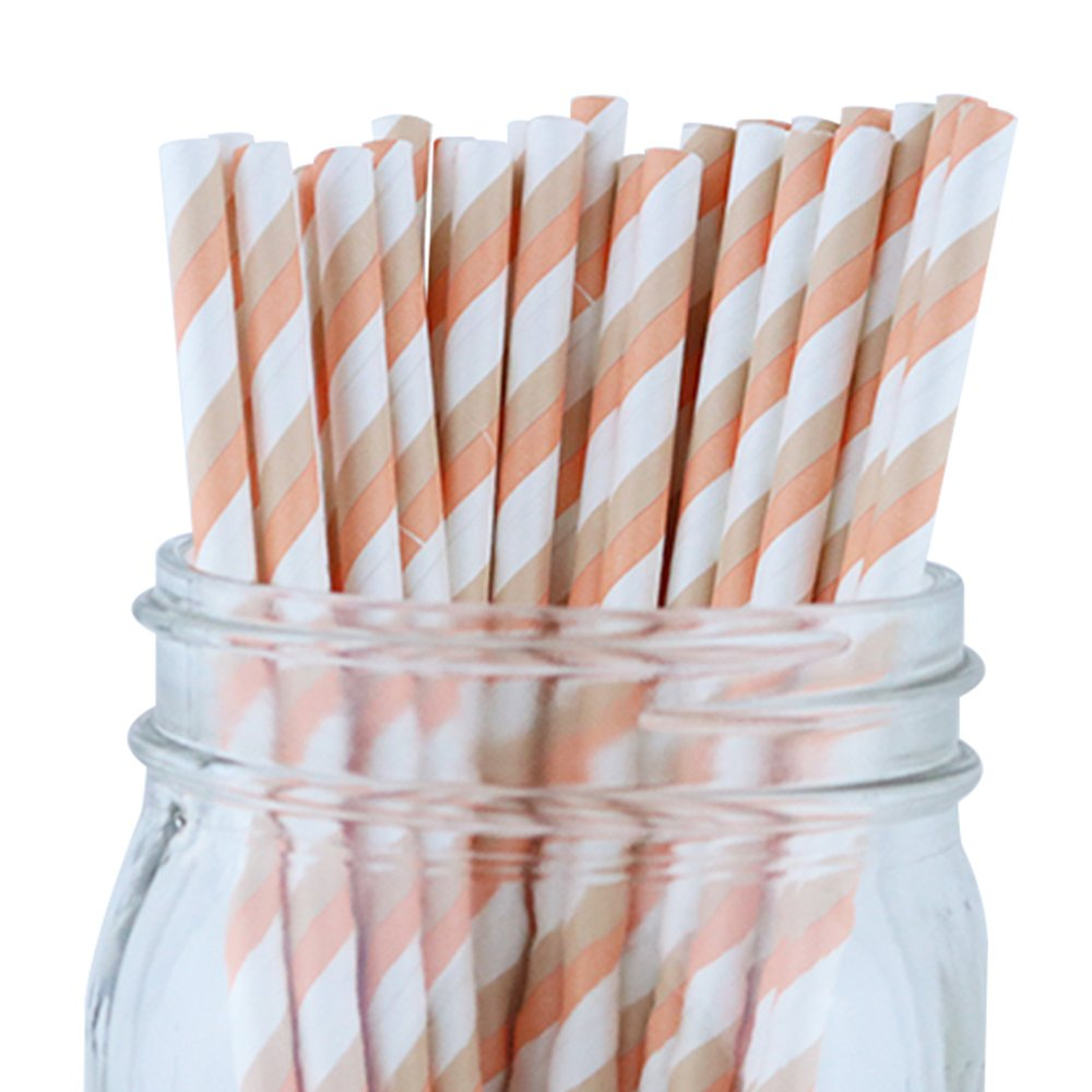 Just Artifacts - Decorative Paper Straws 100pcs - Striped Pattern - Peach & Taupe - Decorative Paper Straws for Birthday Parties, Weddings, Baby Showers, and Life Celebrations!
