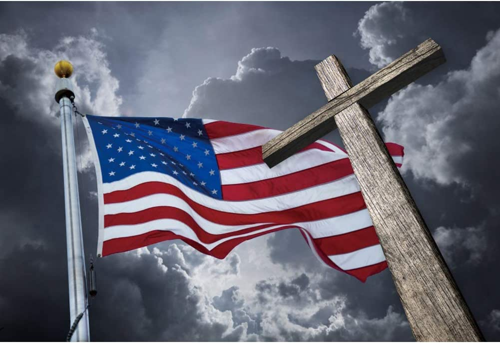 OERJU 10x8ft Independence Day Backdrop for Photography America Flag Stars and Stripes Crucifix Veterans Day Decorations 4th of July Patriotic Party Banners Newborn Baby Shower Photo Studio Props