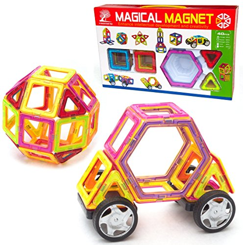 Magnetic-Tile-Building-Set-40-Large-Pieces-with-Wheels-Educational-Toys-that-Teach-Colors-Shapes-and-Patterns-Build-Cars-and-Trucks-for-Boys-or-Castles-for-Girls-Fun-for-Toddlers-to-Teens