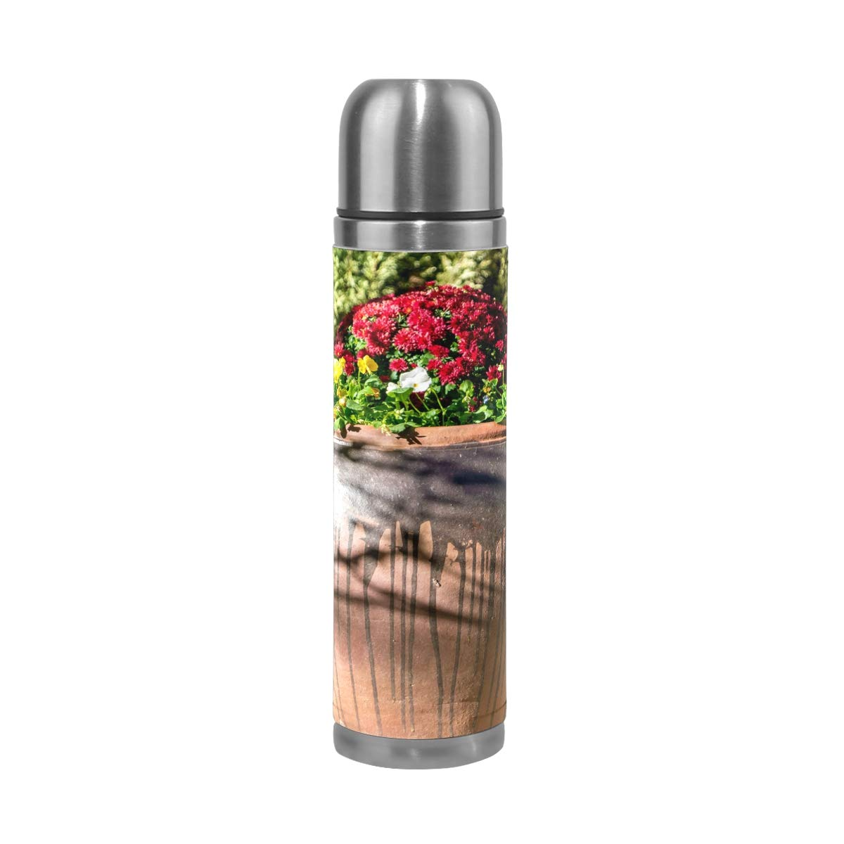 Tree Nature Grass Lant Wood Leaf 500ML Stainless Steel Double Walled vacuum insulated water bottle Travel Mug Leather Cover Thermos 17 oz