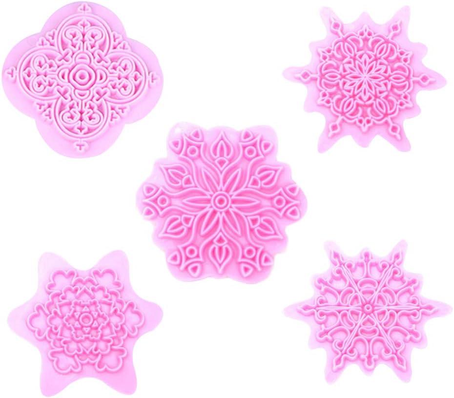 5pcs Christmas Snowflake Shape Cookie Cutter Dough Biscuit Pastry Fondant Mold