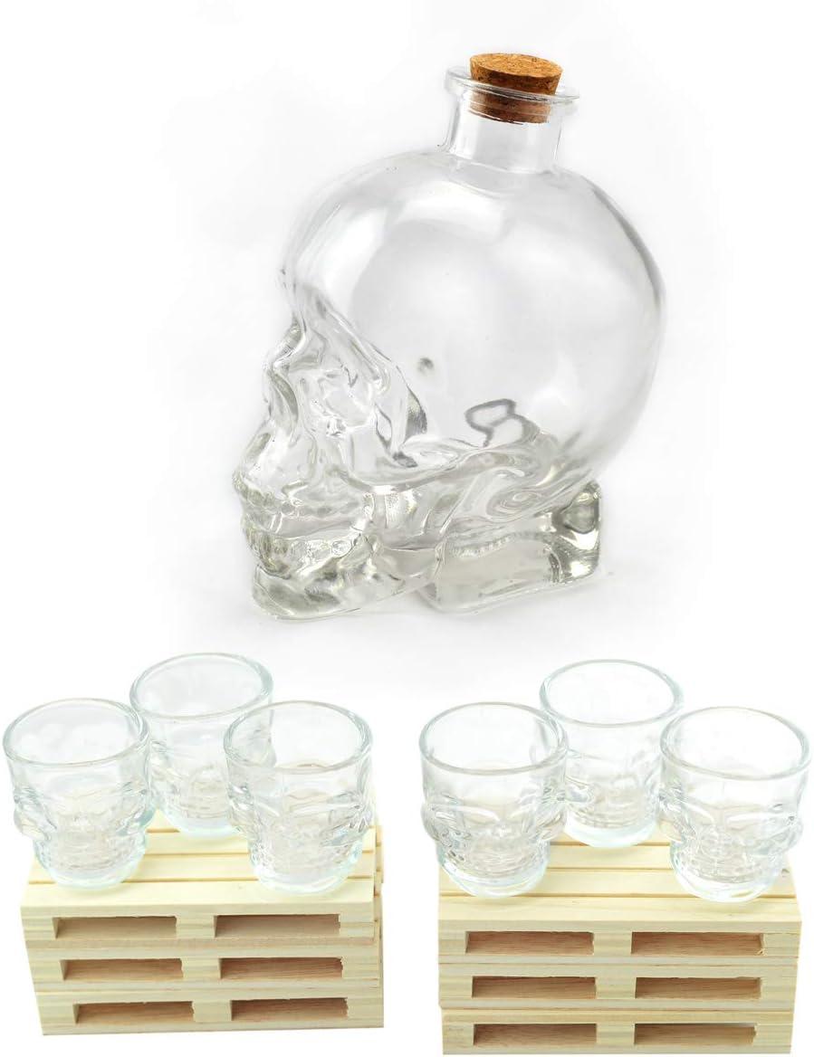 Hostelnovo - Especial Halloween - Original Pack Calavera: Botella Calavera 700 ml + 6 chupitos Calavera 50 cl + 6 Mini palets - Innova en Tus Fiestas