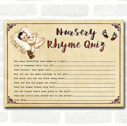 Amazon Com Vintage Baby Shower Games Nursery Rhyme Quiz Cards