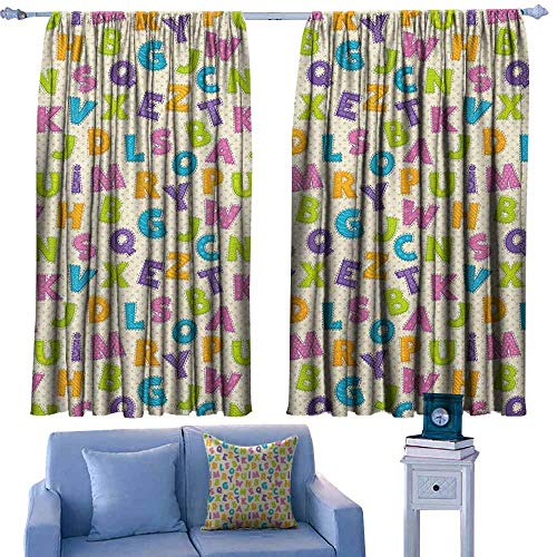 ParadiseDecor Kids Drapery Cute Funny Letters in Lively Colors Cartoon Style ABC Alphabet on Polka Dots Backdrop,Window Treatment Set for Living Room,W63 x L72 Inch