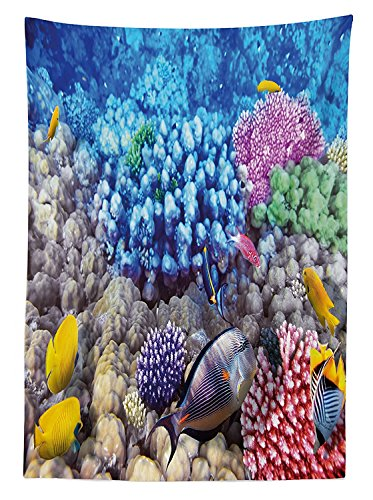 vipsung Ocean Decor Tablecloth Vivid Underwater World with Exotic Fish in Coral Reef Polyps Submarine Fauna Print Dining Room Kitchen Rectangular Table Cover Multi (Star Polyp Coral)