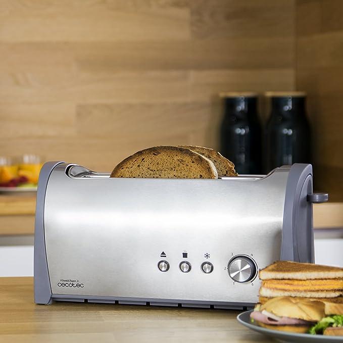 Cecotec Tostadora de Pan Steel&Toast 2L Capacidad Cuatro, Incluye Soporte panecillos, 1400 W, 6 Posiciones de Tostado, Función recalentar y descongelar, ...