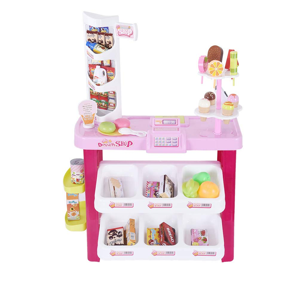 TKI-S Supermarket Pretend Play Stand Food Shopping Grocery Store Playset with Scanner Large Supermarket Shopping Cashier with Fruit Food Light Effects by TKI-S