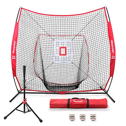 Keenstone Morpilot 7'×7' Baseball Softball Practice Net with Batting Tee, 3 Training Balls, Strike Zone Target, Carry Bag, Ideal for Hitting, Pitching, Batting, Catching and Fielding Training