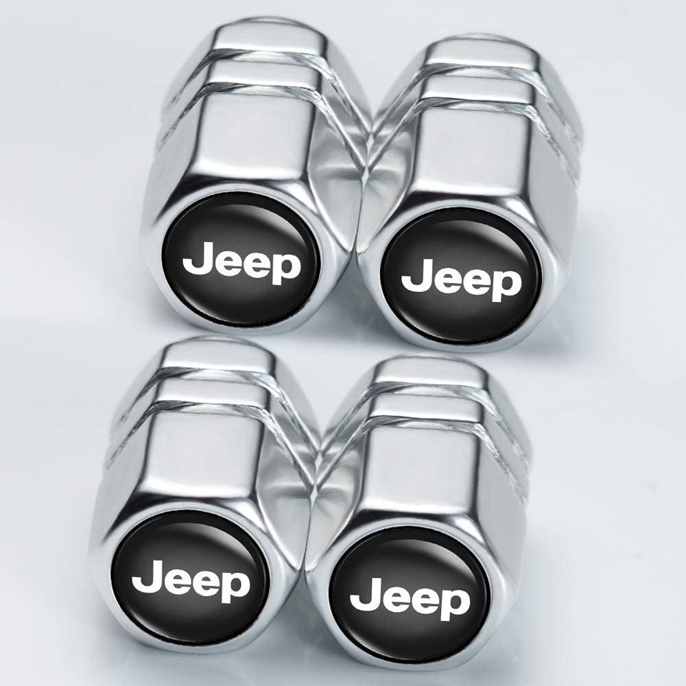 4 Pcs N//P Car Wheel Tire Air Valve Caps Stem Cover for Jeep Wrangler Compass Cherokee Renegade Patriot Grand Commander Logo Styling Decoration Accessories.