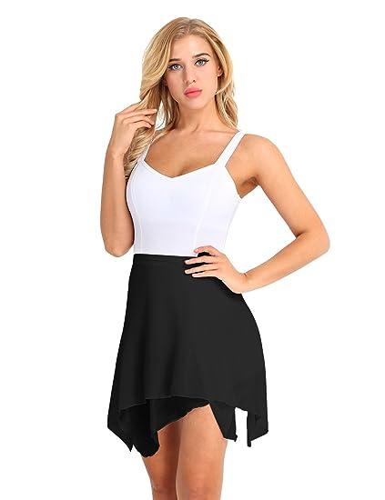 c05875d1da dPois Womens Adult Asymmetric Irregular Hem Ballet Dance Mini Triangle  Tulle Skirt Costume Black One Size