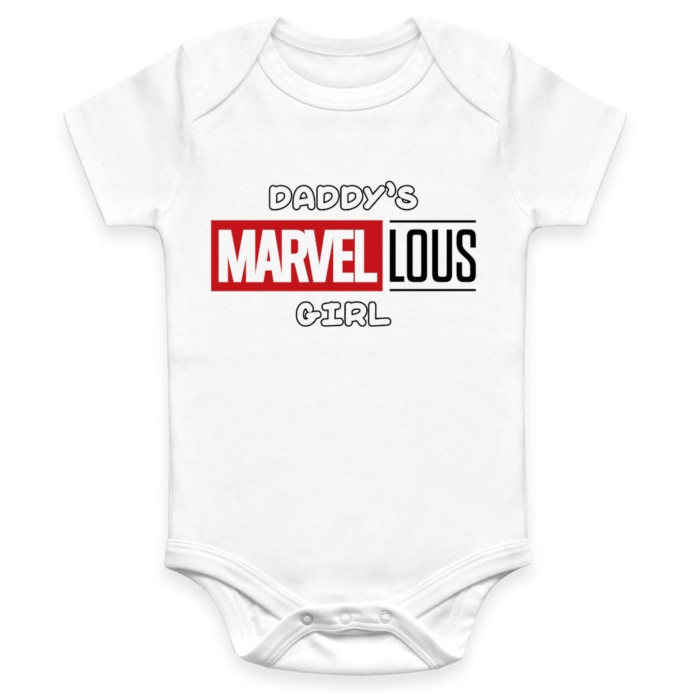 Coco Rascal Baby Girl Daddy's Marvellous Girl Superhero Inspired Cute Cotton White Bodysuit Grow Vest (0-18 Months)