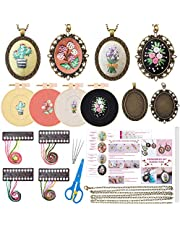 4 Packs Embroidery Kit for Beginners, Shynek 26 Pcs Mini Cross Stitch Kits Includes Stamped Embroidery Clothes with Flowers Pattern Embroidery Necklace Pendant Embroidery Hoops and Necklace Chains