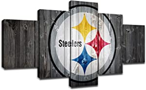 Pittsburgh Steelers NFL Team Logo Wall Decor Art Paintings 5 Piece Canvas Picture Artwork Living Room American Football Prints Poster Decoration Wooden Framed(60''Wx32''H)