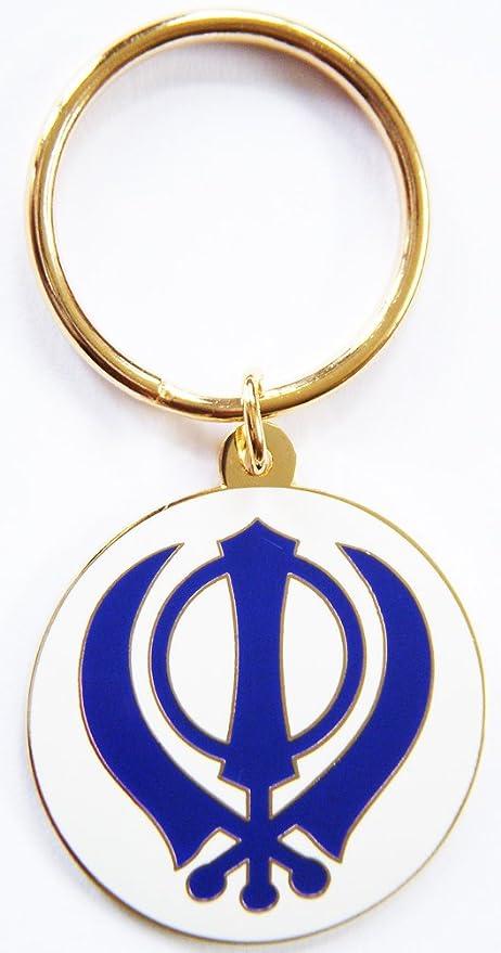 Sikh Khanda llavero blanco y azul L: Amazon.es: Coche y moto