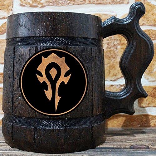Horde Mug. World Of Warcraft Engraved Beer Mug Gift. WOW Wooden Mug. Tankard. Personalized Groomsmen. Beer Stein. Personal Gift for Men, Gift for Him
