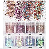 (US) Mixed Glitter 13 Piece 10g Kit - Chunky Sequins Iridescent Flakes Ultra-thin Tips Colorful Mixed Paillette Face Body Art