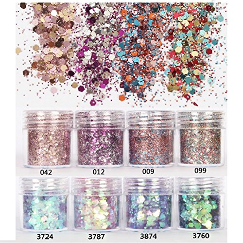 - Mixed Glitter 13 Piece 10g Kit - Chunky Sequins Iridescent Flakes Ultra-thin Tips Colorful Mixed Paillette Face Body Art