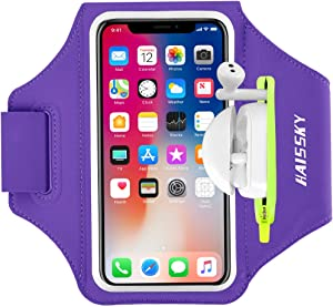 Cell Phone Armband with Earphone Bag Running Armband for iPhone 11 Pro Max/XR 8 Plus/7 Plus, Galaxy S20+/S10/S9, Sports Armband with Zipper Pocket for Car Key Workout Arm Band for 6.7 inches Phone