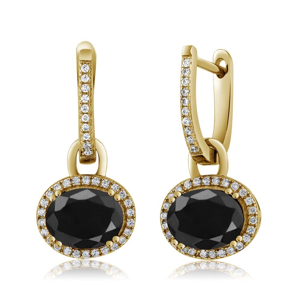 18K Yellow Gold Plated Silver Stunning Oval Gemstone Birthstone Dangling Earrings