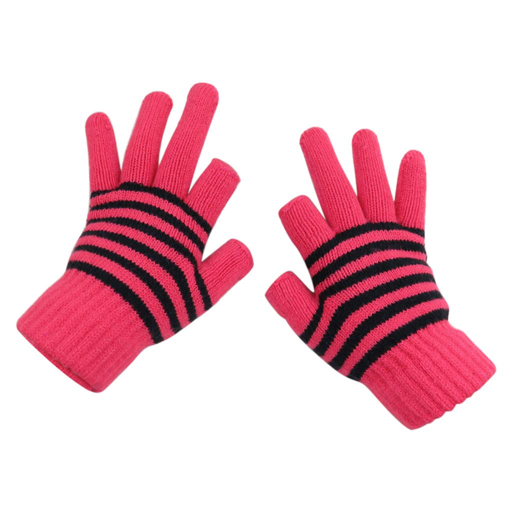 Women Men Multi-Function Knitted Screen Winter Gloves Soft Warm Mitten (Black) MatureGirl