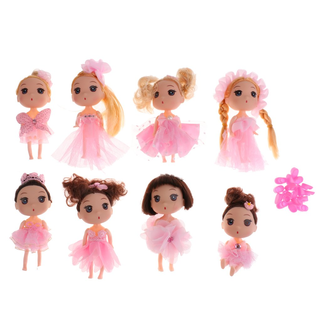 Dovewill Set of 8pcs 4 Joints Ball Jointed Dolls in Dress Home Decorative Figures Children Toy Birthday/Xmas Gift Collectibles Pink by Dovewill