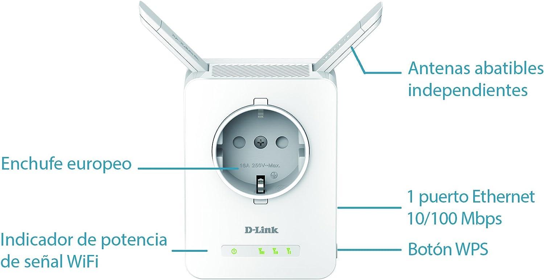 D-Link DAP-1365 - Repetidor WiFi N300 con Enchufe (1 Puerto LAN Ethernet RJ-45 10/100Mbps, 2 Antenas externas abatibles, Punto de Acceso, 802.11b/g/n, ...