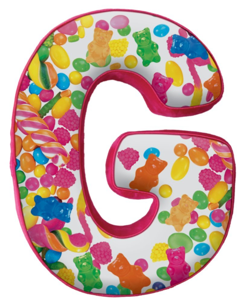 iscream Lettermania G Initial 16'' Candy Collage Print Fleece Back Microbead Pillow