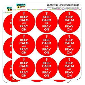 Keep Calm And Pray On Christian 5cm (2 inch) Scrapbooking Crafting Stickers