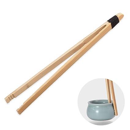 oumosi bambú antideslizante té pinzas pinzas con mango largo pinzas para alimentos tostadas hojas de té
