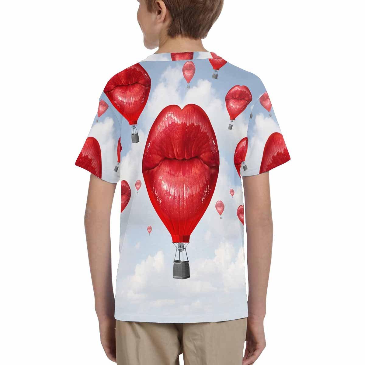 XS-XL INTERESTPRINT Red Lips Love Hot Air Balloon Youth Crew Neck T-Shirt